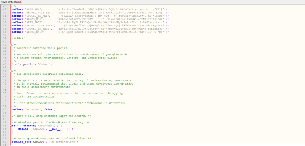 fichier wp-config.php